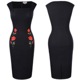 BP Retro Vintage Cap Sleeve Square Neck Hips-Wrapped Bodycon Pencil Dress