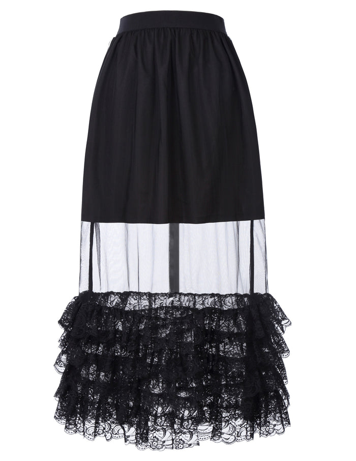 Belle Poque Retro Vintage Sexy Women's Ruffled Lace Hem See-Through Long Skirt