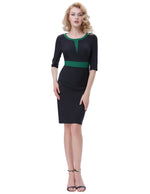 Women's 3/4 Sleeve Colorblock Slim Bodycon Formal Business Work Pencil Dress