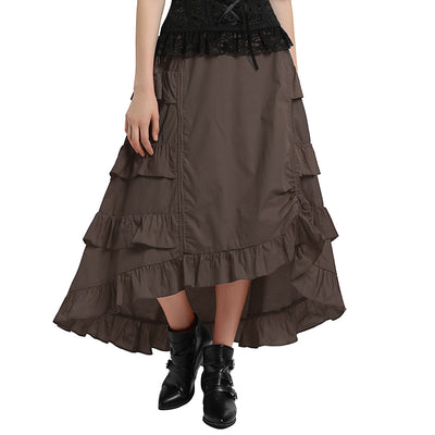 Gonna alta e bassa da donna in cotone vintage retrò Gothic BP