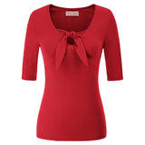 BP Vintage Retro Women's 1/2 Sleeve V-Neck Tie Details Cotton Tops