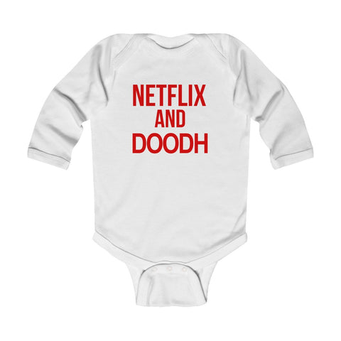 Netflix and Doodh - Long Sleeve Baby Onesie