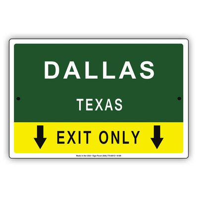 City & State Exit Only Signs