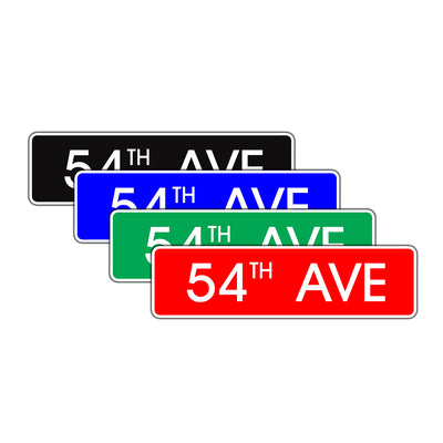 54th Avenue New York Road Aluminum Metal Novelty Street Plate Sign Wall Gift Decor