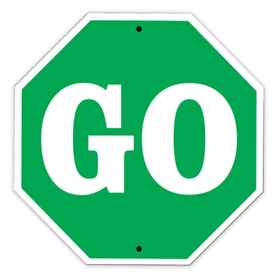 Go Stop Shape Street Traffic Road Educational Road Street Matel Aluminum Notice Novelty Plate Sign