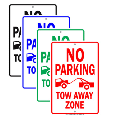 No Parking Tow Away Zone With Graphic Restriction Warning A Keep Moving Security Alert Aluminum