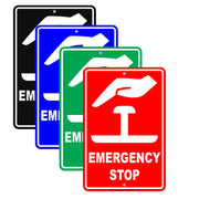 Emergency Stop With Graphic Safety Alert Caution Warning Notice Aluminum