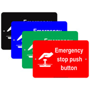 Emergency Stop Push Button With Graphic Safety Alert Caution Warning Notice Aluminum