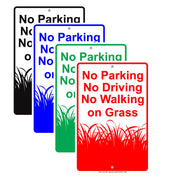 No Parking Driving Walking On Grass With Graphic Lawn Garden Restriction Alert Caution Aluminum