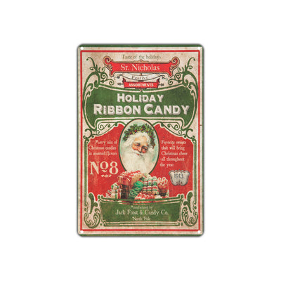 Holiday Ribbon Candy Taste Of St. Nicholas 1913 Vintage Retro Wall Decor Art Shop Aluminum