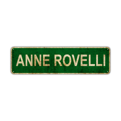 Anne Rovelli Vintage Retro Street Sign Rustic Metal Aluminum Decor Wall Shop Man Cave Bar Gift