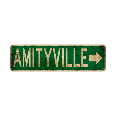 Amityville Vintage Retro Street Novelty Sign Rustic Metal Aluminum Decor Wall Man Shop Cave Bar Gift
