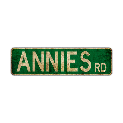 Annies Rd Vintage Retro Street Novelty Sign Rustic Metal Aluminum Decor Wall Man Shop Cave Bar Gift