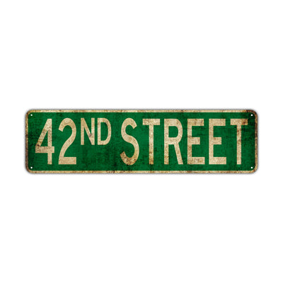 42nd Street Vintage Retro Street Novelty Sign Rustic Metal Aluminum Decor Wall Man Shop Cave Bar Gift
