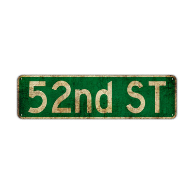 52nd St Vintage Retro Street Novelty Sign Rustic Metal Aluminum Decor Wall Man Shop Cave Bar Gift