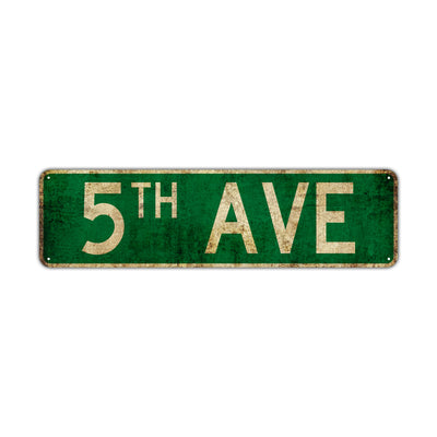 5th Ave Vintage Retro Street Novelty Sign Rustic Metal Aluminum Decor Wall Man Shop Cave Bar Gift