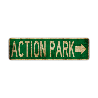 Action Park Vintage Retro Street Novelty Sign Rustic Metal Aluminum Decor Wall Man Shop Cave Bar Gift