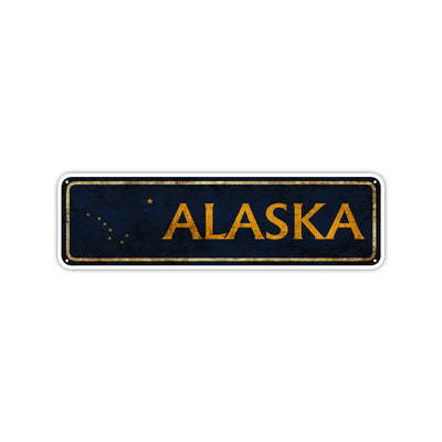 Alaska State Country United States Vintage Retro Street Novelty Sign Rustic Metal Aluminum Decor Wall Man Shop Cave Bar Gift