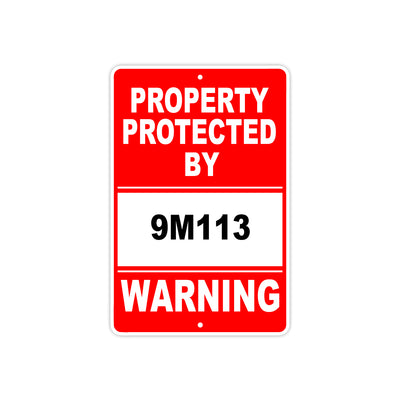 Property Protected by 9M113 Gun Pistol Rifle Revolver Warning Aluminum Metal Plate Sign