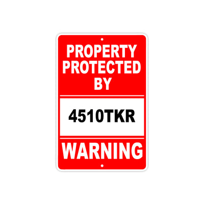 Property Protected by 4510tkr Gun Pistol Rifle Revolver Warning Aluminum Metal Plate Sign