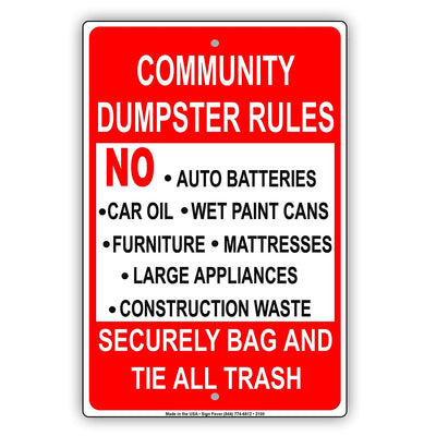 Community Dumpster Rules Security Bag And Tie All Trash Restriction Warning Caution Notice