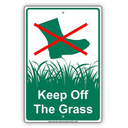 Keep Off The Grass With Graphic Yard Lawn Garden Restriction Alert Caution Warning Aluminum