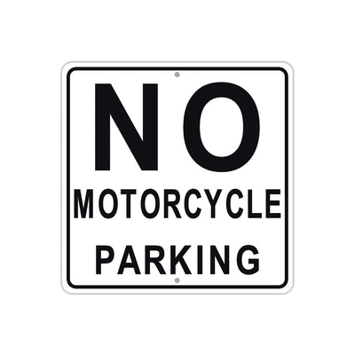 No Motorcycle Parking Caution Aluminum Metal Sign Plate