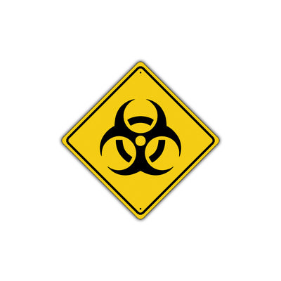 Caution Biological Hazard with Graphic Symbol Attention Xing Metal Aluminum Novelty Plate Sign
