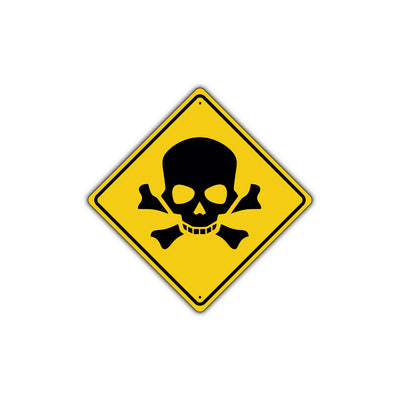 Danger Hazardous Toxic Waste Skull Bones Symbol Alert Attention Dangrous Metal Aluminum Sign Plate