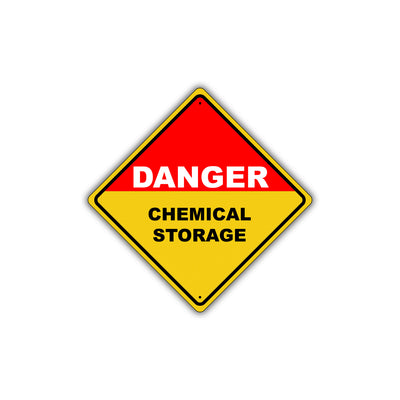 Caution Danger Chemical Storage Street Attention Metal Aluminum Novelty Alert Sign Plate