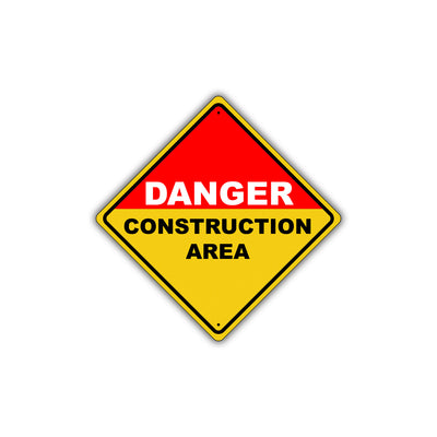 Caution Danger Construction Area Osha Attention Metal Aluminum Novelty Alert Sign Plate