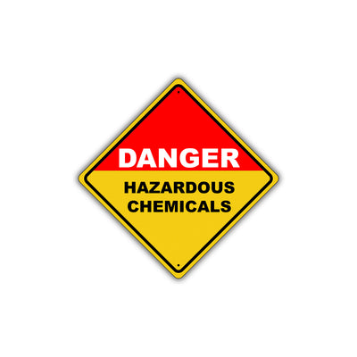 Caution Danger ous Hazardous Chemicals Metal Alert Aluminum Novelty Notice Sign Plate