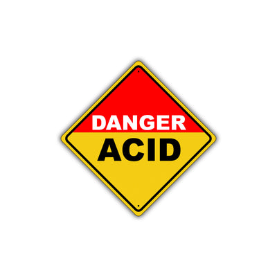 Caution Danger Acid Hazardous Wear Proper Protection Osha Metal Alert Aluminum Novelty Notice Sign