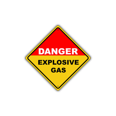 Caution Danger Explosive Gas Flammable Hazardous Metal Alert Aluminum Novelty Notice Sign Plate