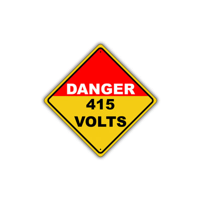 Caution Danger 415 Volts Electric Industrial Osha / Ansi Metal Alert Aluminum Novelty Notice Sign
