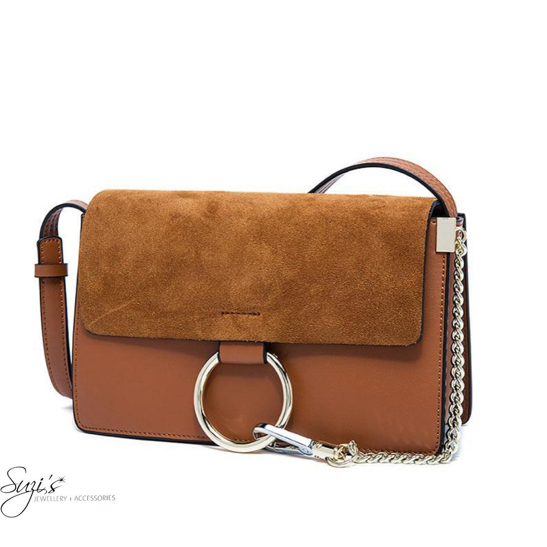 Tan coloured shoulder handbag