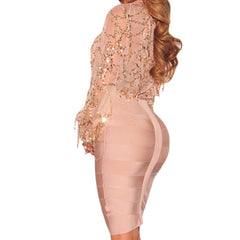 Apricot Nude Bandage Pencil Skirt