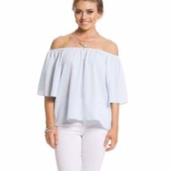 Sky Blue Off Shoulder Top