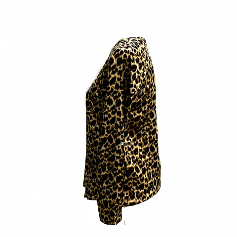 Leopard Blouse Gold Zipper