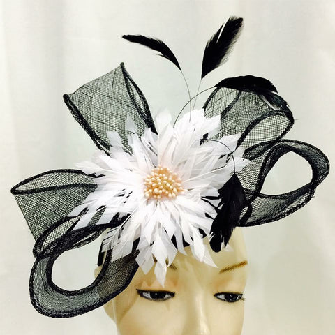 Statement Ribbon Fascinator Topped With Feather Flower Design