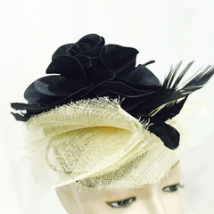 Elegant Large Black Rose Fascinator