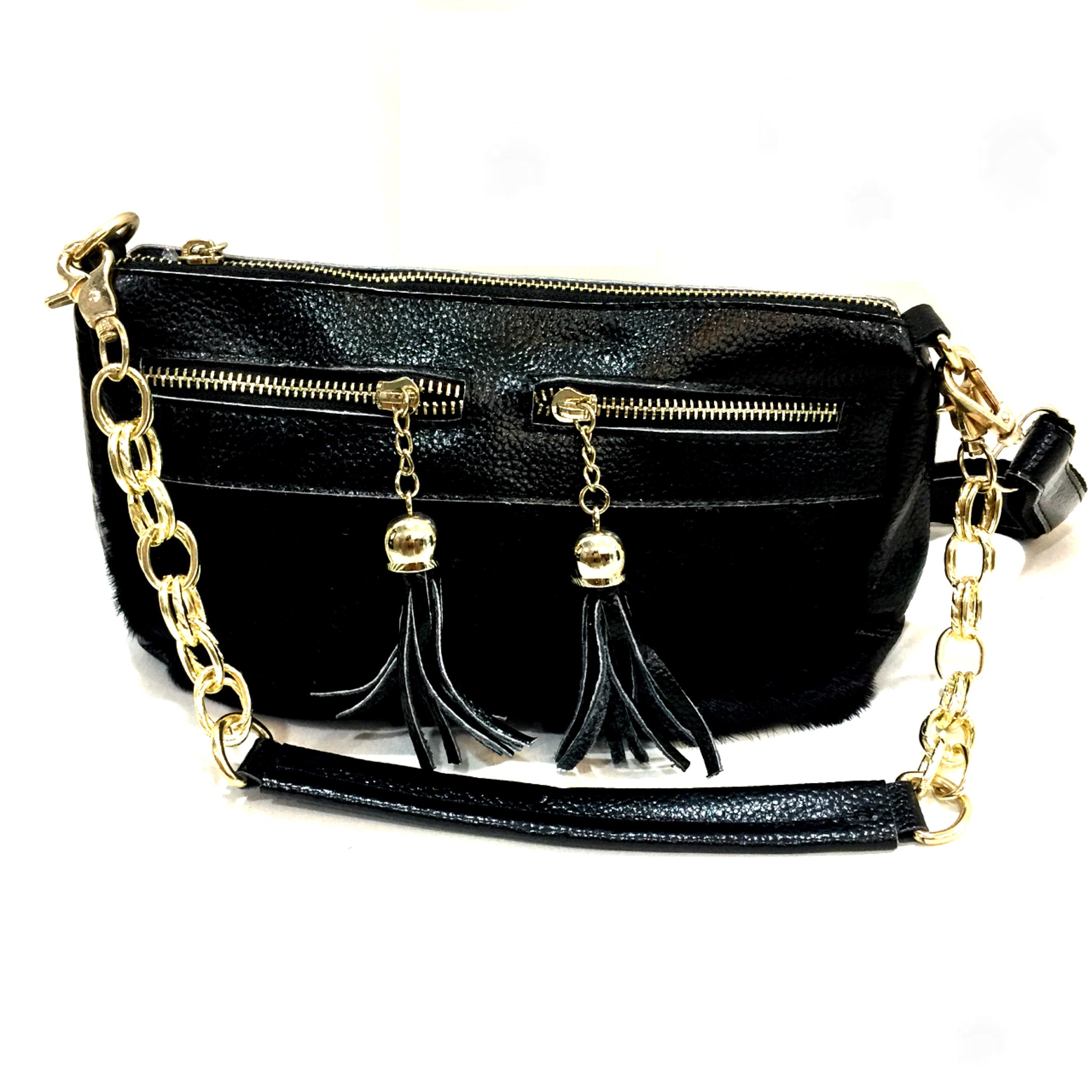 Black Trendy Vegan Leather Handbag