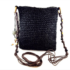 Woven Black Shoulder Bag