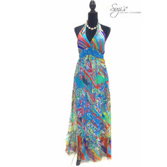 Crystal Slim Waist Halter Pattern Long Dress