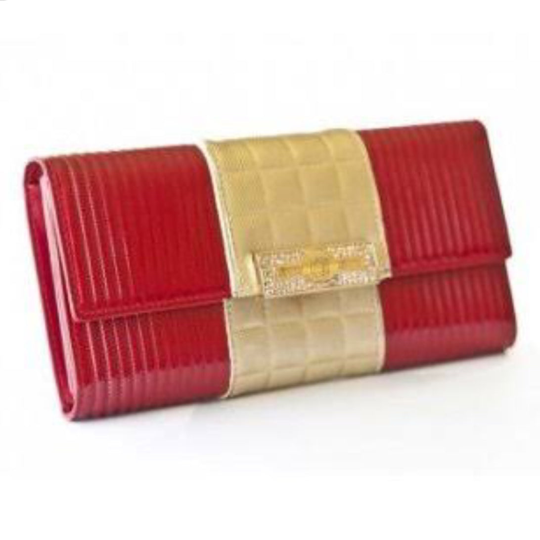 Angelina Gold Sash Flap Patent Leather Wallet