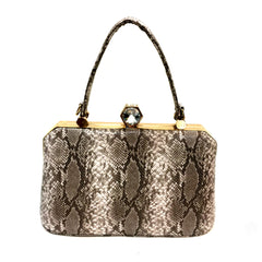 Grey Snake Pattern Diamante Top Clutch
