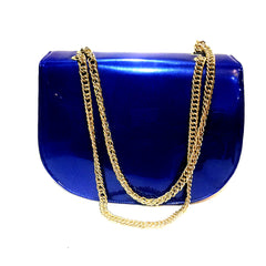 Patent Blue Chain Bag