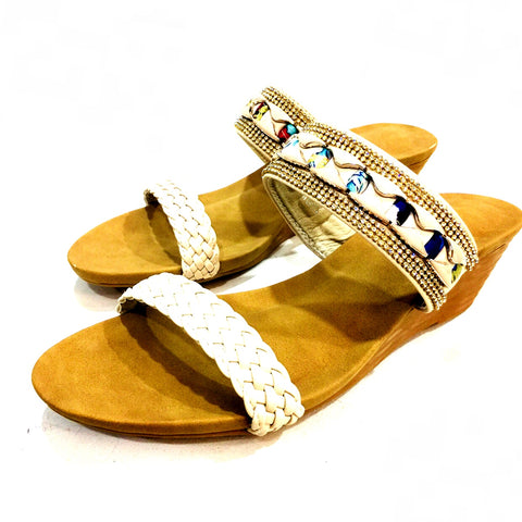 Cream Wedge Sandal With Jewels