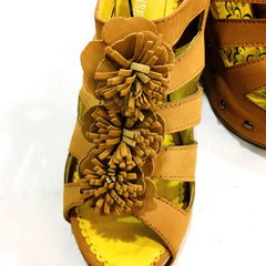 Beige Truffle Flower Wedge Sandals