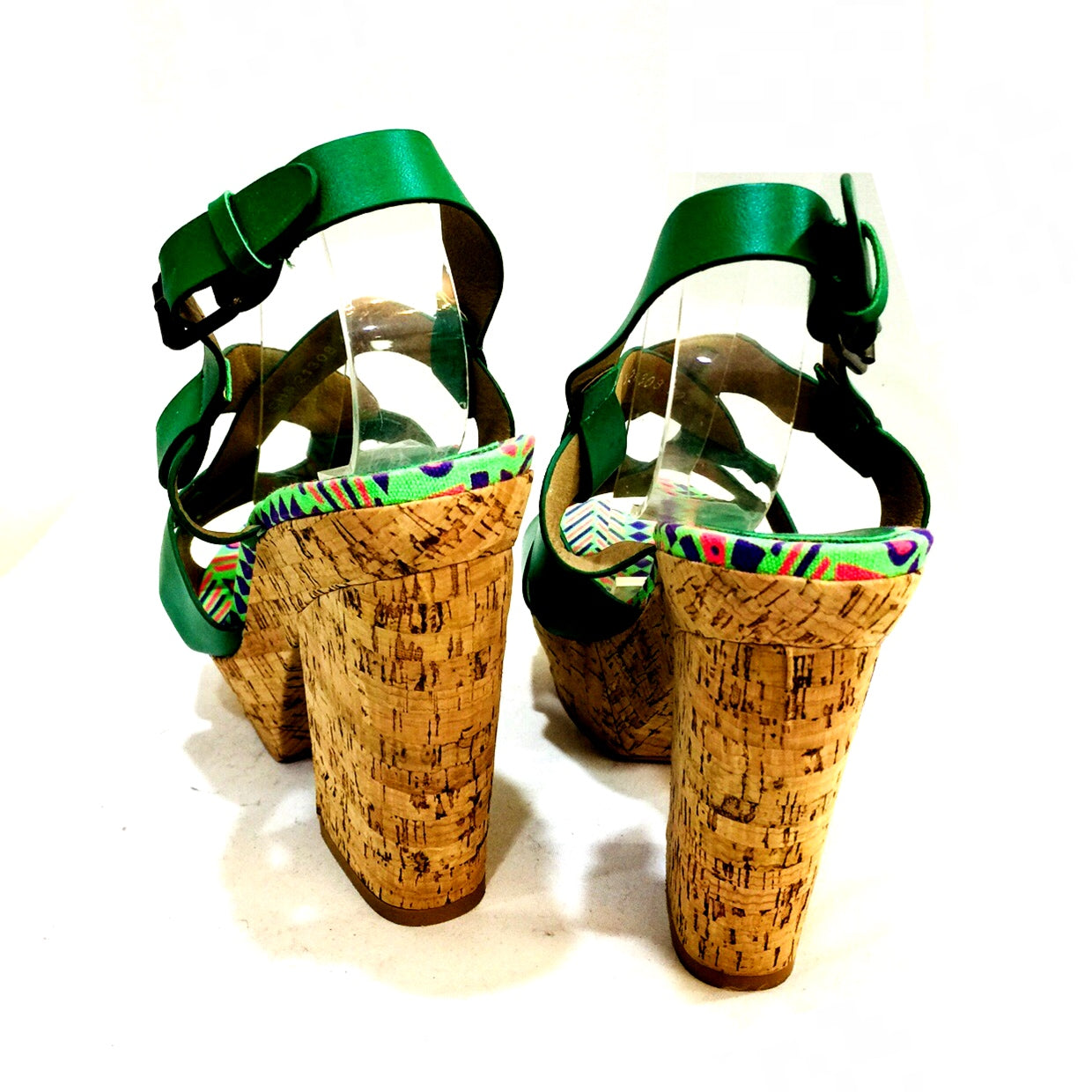 Emerald Green Criss Cross Cork Wedge Sandals